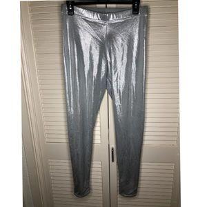 BlackMilk Shiny Silver Leggings